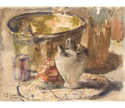Eduardo Léon GARRIDO ( 1856-1949 ) Nature morte à la cruche. Aquarelle signée en...