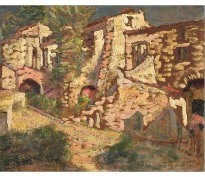 Victor CHARRETON (1864-1936) Auberge près...