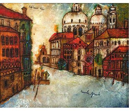 Theo TOBIASSE (1927) Canal Grande à Venise. Huile sur toile signée en haut à gauche....