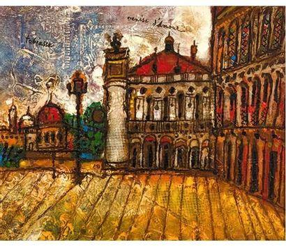 Theo TOBIASSE (1927) Venise d'amour. Huile sur toile signée en haut à gauche. 33...