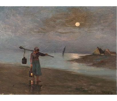 Eugène CHIGOT (1860-1923) Femme sur la grève...