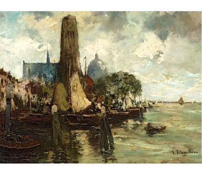 Gustave FLASSCHOEN (1869-1940) Vue d'un port. Huile sur toile signée en bas à droite....