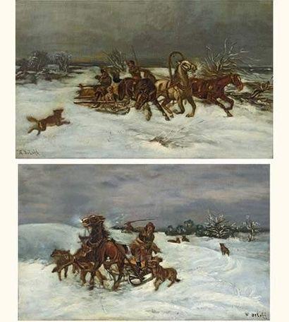 Vladimir ORLOFF Loups attaquant un traîneau...