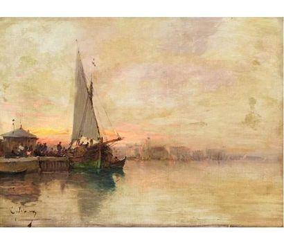 Alfred GODCHAUX (1835-1895) Le coucher de...