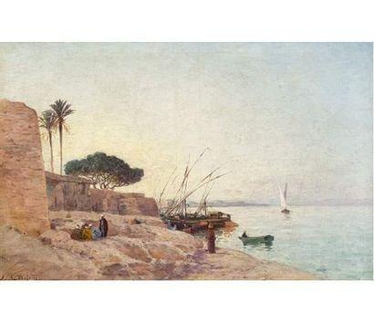 Emile BOIVIN (1846-1920 ) Port oriental....