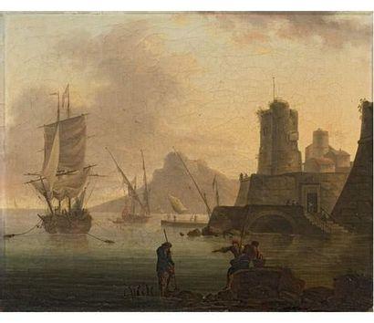 Attribué à Philippe REY (actif dans le deuxième moitié du XVIIIe siècle) Pêcheurs...
