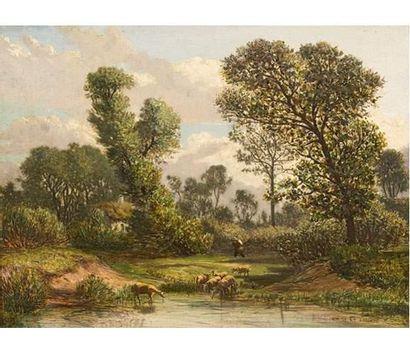 Prosper GRESY (1801-1874) Moutons près de l'étang Huile sur panneau signée en bas...