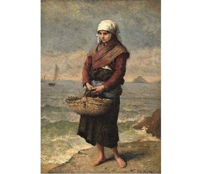 Eugène FEYEN (1815-1908) Jeune fille de retour...