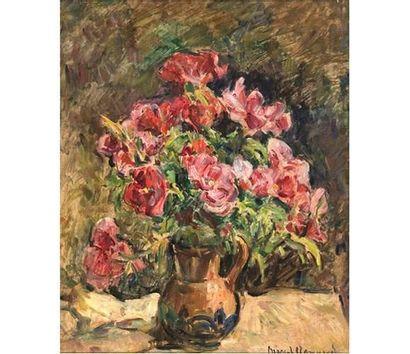 Marcel ARNAUD (1877-1956) Bouquet d'anémones. Huile sur isorel signée en bas à droite,...