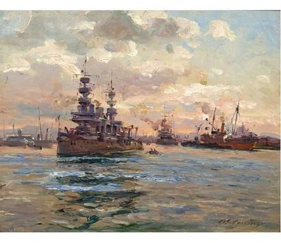 Adolphe GAUSSEN (1871-1947) Bateaux militaires...