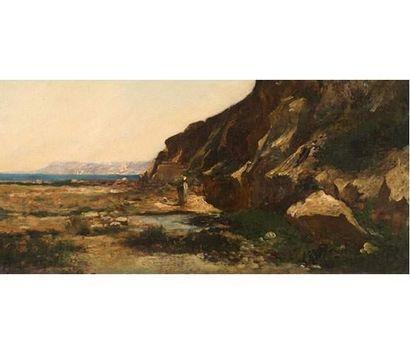 Emile LOUBON (1809-1863) Bord de côte. Huile...