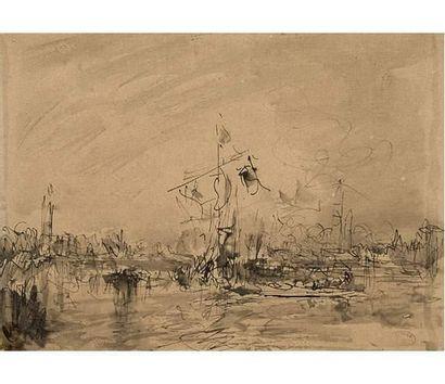 Félix ZIEM ( 1821-1911 ) Venise. Lavis d'encre,...