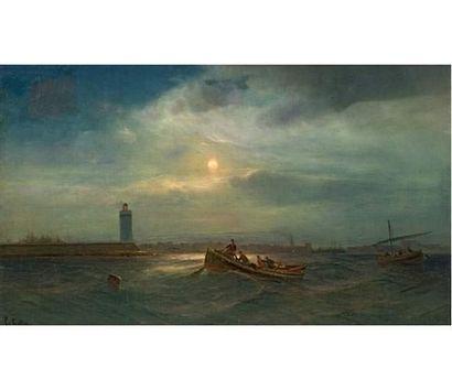 Louis François GAUTIER (1855-1947) Bateaux devant le port de Marseille. Huile sur...