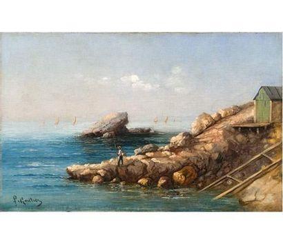 Louis François GAUTIER (1855-1947) Pêcheur en bord de mer. Huile sur toile signée...