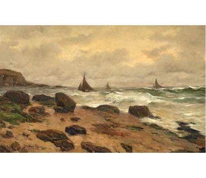 Alfred CASILE (1848-1909) Voiliers en mer. Huile sur toile signée en bas à gauche....