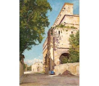Marius MICHEL ( né en 1853) Le théâtre antique d'Orange. Huile sur toile signée...