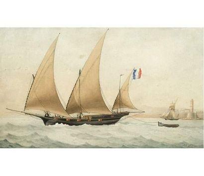 François ROUX (1811-1882) Voilier à l'entrée du port de Marseille. Aquarelle signée...