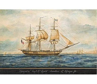 E. JOUBERT Trois mâts à l'entrée du port de Marseille. Le Cléopâtre, Capitaine Le...