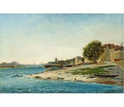 Paul SAIN (1853-1908) Le Rhône dans les environs d'Avignon. Huile sur toile signée...