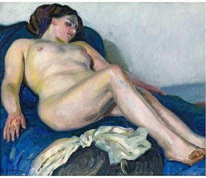 Augustin CARRERA (1878-1952) Nu sur drap...
