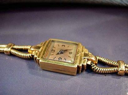 Montre bracelet de dame à boîtier carré à...