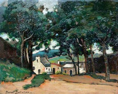 Marcel PARTURIER (1901-1976) Village en Bretagne...