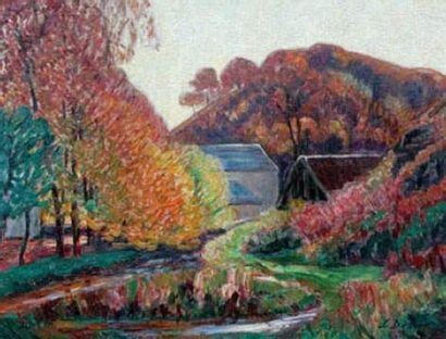 Léon DETROY (1857-1955) Bord de rivière Huile...