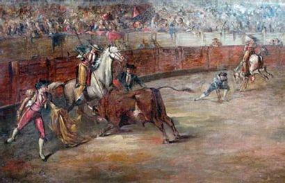 Gustave COLIN (1828-1910) Scène de corrida...