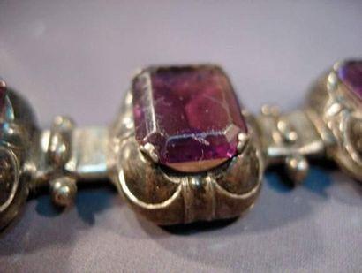 Éléments de bracelet en argent et verre ...