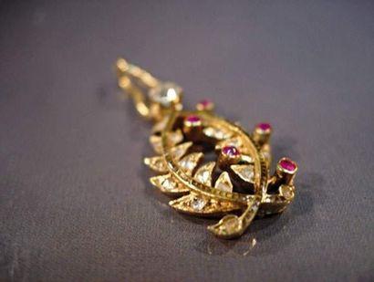 Palmes académiques en or serties de diamants...