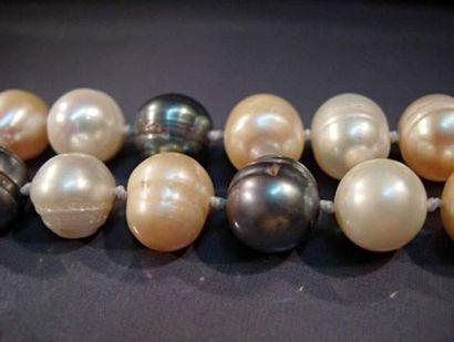 Sautoir de perles de culture roses et gr...