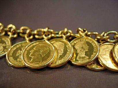 Bracelet en or jaune 14K maillons forçats...