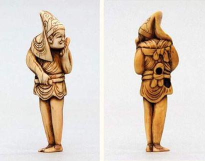 NETSUKE en ivoire représentant un danseur...