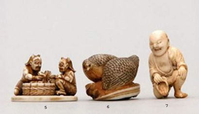 NETSUKE en ivoire représentant deux cailles...