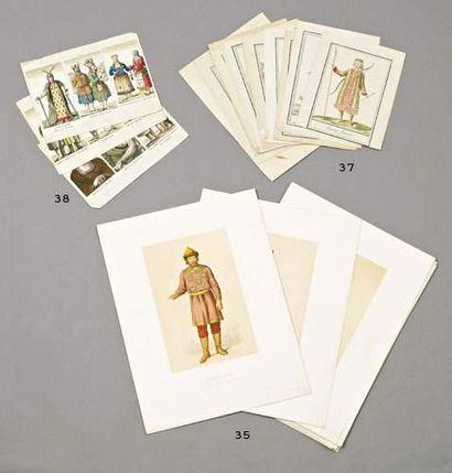 Lot de 13 gravures en couleur: costumes russes...