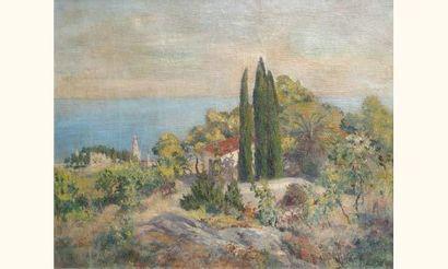 """Laurent GSELL 1860-1944 """"Environs de Menton"""" Huile sur toile signée en bas à droite..."""