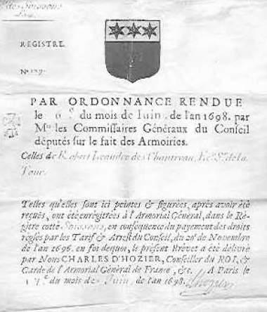 ANCIEN REGIME HERALDIQUE / Charles d'HOZIER...