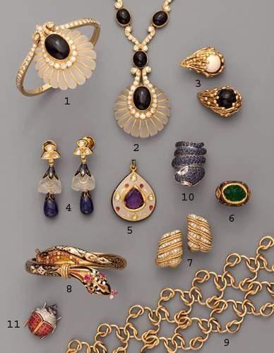 Photo 7 1. Bracelet en or, diamants, onyx...