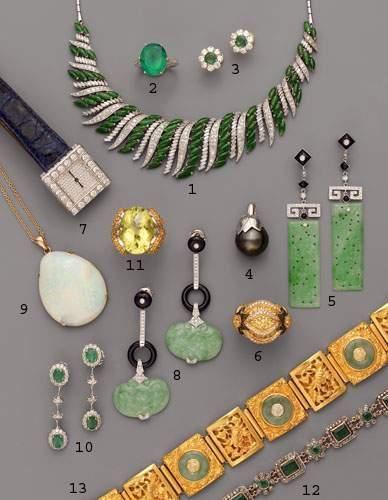 Photo 8 1. Collier draperie, en argent, diamants...