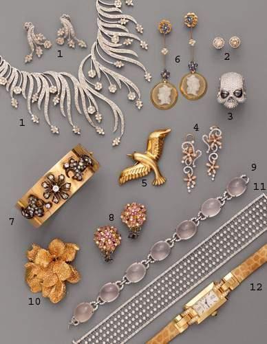 Photo 10 1. Parure feuillages, en or et diamants...