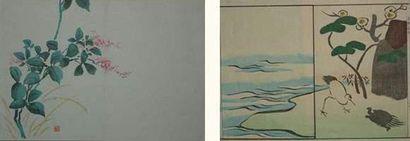 JAPON Huit pages de livres de l'école de...