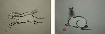 JAPON Deux estampes d'Aoyama, illustrant...