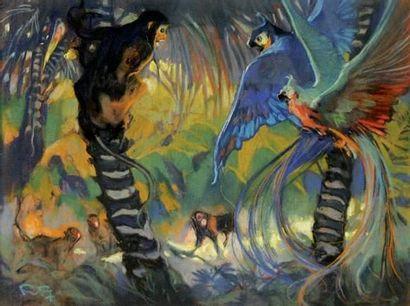 FORTUNEY (1878-1950) « Dans la jungle » Pastel,...