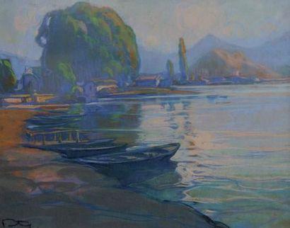 FORTUNEY (1878-1950) « Barque accostée »...