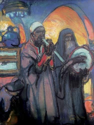 FORTUNEY (1878-1950) « Les musiciens » Pastel,...
