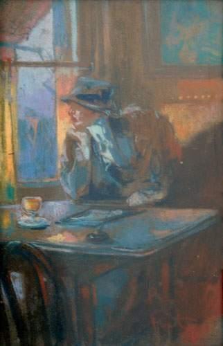 FORTUNEY (1878-1950) « Au café » Pastel....