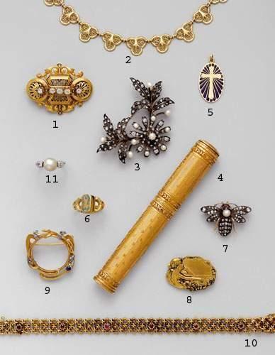 Photo 6 1. Broche Napoléon III, en or, émail...