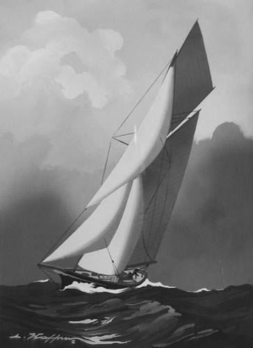 Léon HAFFNER (1881-1972) « Yacht vu par l'avant » Gouache au pochoir, signée en...