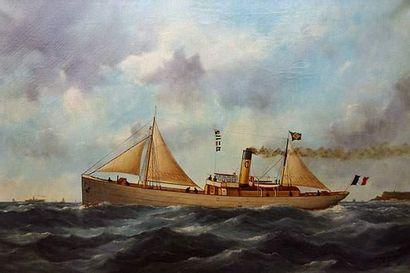 Edouard ADAM (1847-1929) (Portraitiste de bateaux au Havre) « Le vapeur mixte Ville...
