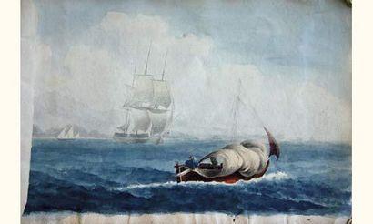 """""""François ROUX (1811-1882) Cahier de dessins de neuf pages (quelques manquantes)..."""